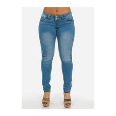 Butt Lifting Low Rise Skinny Jeans ($20) ❤ liked on Polyvore featuring jeans, skinny leg jeans, blue jeans, denim skinny jeans, blue skinny jeans and cut skinny jeans