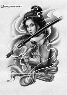 Female Samurai Tattoo, Japanese Warrior Tattoo, Japanese Tattoo Art, Japanese Tattoo Designs, Japanese Sleeve Tattoos, Geisha Tattoo Design, Japan Tattoo Design, Tattoo Lettering Fonts, Geisha Art