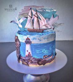 Fall Cakes, Summer Cakes, Cupcakes, Cupcake Cakes, Wave Cake, Artist Cake, Beach Themed Cakes, Ocean Cakes, Nautical Cake