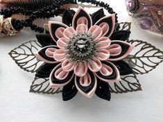 Your place to buy and sell all things handmade Diy Ribbon Flowers, Kanzashi Flowers, Ribbon Hair Bows, Satin Flowers, Ribbon Work, Ribbon Crafts, Flowers In Hair, Fabric Flowers, Satin Ribbons