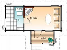 Tuohinen    Kerrosala 20 m²  Kokonaiskäyttöala 24 m²       Perinteistä saunasuunnittelua edustava malli täydentää mainiosti mummon mökin pihapiiriä. Kipakoita löylyjä!