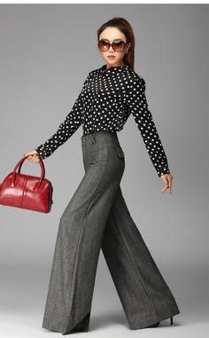 2014 moda casual a spina di pesce elastico a vita alta pantaloni gamba larga delle donne ispessimento plus size xxxl pantaloni grigi in da Pantaloni & Capris su AliExpress.com | Gruppo Alibaba