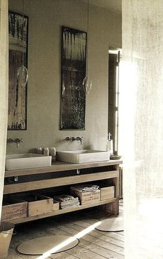 ~linen and lavender: Design Daily - contemporary rustic bath Contemporary Baths, Rustic Contemporary, Modern Industrial, Modern Rustic, Industrial Design, Bad Inspiration, Bathroom Inspiration, Ideas Baños, Wooden Wine Crates