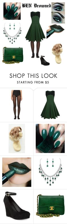 """""""BEN Drowned"""" by melodywinddrift on Polyvore featuring Wolford, WithChic, Wildwood, Material Girl and Chanel"""