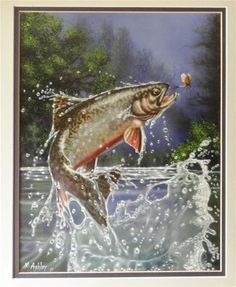 """Rainbow Trout Jumping after Fly Original Painting Airbrush by M.Ashley"" - Original Fine Art for Sale - © Mary Ashley"