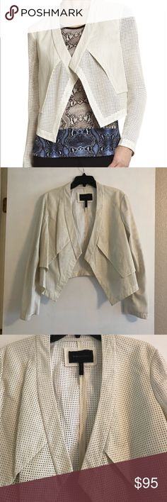 White Faux Leather Moto Jacket BCBGMaxAzria Perforated White Faux Leather Moto Jacket • super sleek & comfy • cropped • Currently $99.50 on their site || Open to reasonable offers BCBGMaxAzria Jackets & Coats