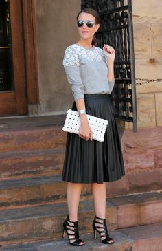 Embellished sweatshirt + (faux) leather midi skirt