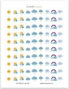 Weather Kawaii (Planner Addiction) Hello my planner addicts I will start to make more decorative printable planner stickers this week. Your suggestions are always appreciated. So today, it's Weather Kawaii. This Freebie fits in every Planner 2018, To Do Planner, Agenda Planner, Passion Planner, Free Planner, Planner Pages, Happy Planner, Blog Planner, Organized Planner