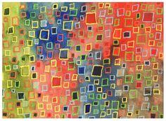 Wachsmalstifte und Aquarellfarbe auf Ingres-Papier, eigentlich zum Zerreißen als Collagepapier gedacht - nöö!