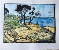 Table rock Lino Cut by Helene Fabb