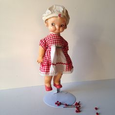 Vintage Campbell Kid rubber doll original clothes and chef hat 1950s from MilkweedVintageHome by MilkweedVintageHome on Etsy