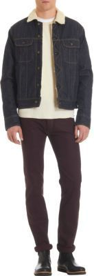 $380, Navy Denim Jacket: Rag and Bone Rag Bone Sherpa Lined Denim Jacket. Sold by Barneys New York. Click for more info: https://lookastic.com/men/shop_items/8975/redirect