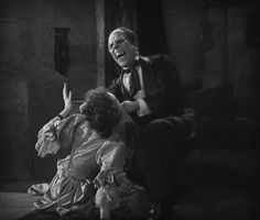 Lon Chaney and Mary Philbin, the unmasking scene. Definitely one of the most powerful cinematic moments, period.