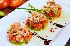 Shrimp Tomato & Avocado Salad Stacks