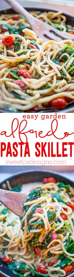 easy garden alfredo skillet pasta- this is delicious and so easy! ready in 15 minutes!