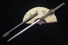 """Chinese sword/Seven Swords Youlong jian/Damascus steel blade/Carved dragon-shaped brass fittings/Ebony Scabbard/Length 41"""""""