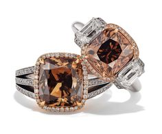 Rosendorff Honey Collection Cognac and Diamond Rings