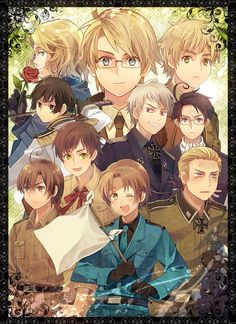 Prussia...you OK there....Gilbert....<<< PRUSSIAS THEREEEE<<< But he's looking real funny at Feli.... Feliciano I suggest u start running
