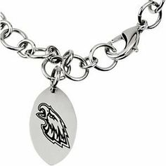 """Stainless Steel Philadelphia Eagles NFL Football Team Logo Dangle Link Bracelet 8"""" The Men's Jewelry Store. $77.99. NFL Officially Licensed Logo Team Name and Mascot for Philadelphia Eagles Fans. A Beautiful and Elegant Way to Show Your Devotion. 316L Stainless Steel is Gentle on Sensitive Skin and is Hypoallergenic. Philadelphia Eagles are Sharp in Black Enamel. Stainless Steel Dangle Link Bracelet with Philadelphia Eagles NFL Football Team Logo. Save 39%!"""