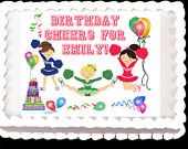 #CHEERLEADER edible birthday cake topper-personalized- rectangular or round