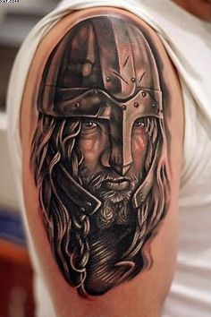66b3b1218 Realism Warrior Face Tattoo On Shoulder | Tattoobite.com Half Sleeve Tattoos  Viking, Viking