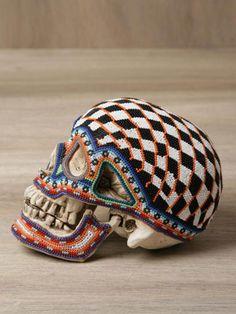 Our Exquisite Corpse : Huichol Beaded Skulls Yarn Painting, Skull Painting, Crane, Exquisite Corpse, Textiles, Beaded Skull, Animal Skulls, Skull And Bones, Skull Art