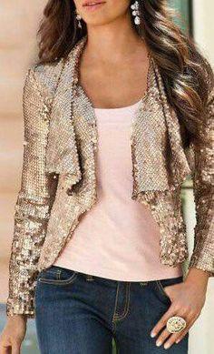 Sequin jacket + blush tshirt + denim