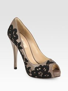 Valentino Leather Embroidered Peep Toe, maybe modge podge on pieces of lace, lovin it!