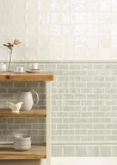 If you want to incorporate metro tiles into a traditional kitchen consider opting for more muted tones and subtle grout work. Deep creams and mint green tones are lovely options and a pearlescent finish like this will reflect light too. Contemporary Kitchen Tiles, Bathroom Modern, Traditional Kitchen Tiles, Mint Bathroom, Glazed Tiles, Green Kitchen, Dad's Kitchen, Rooster Kitchen, Kitchen Ideas