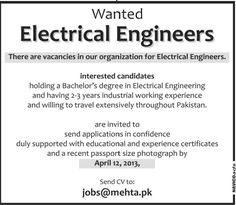 Electronic And Electrical Engineers Required For Company In