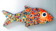 """Abstract Wooden Fish 7½"""" wide X 3¾"""" high Acrylic paint on 1/4"""" thick wood"""