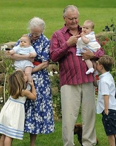 Queen Margrethe II,  Prince Consort Henrik of Denmark, Prince Christian (R) and Princess Isabella (L) and the twins Prince Vincent Frederik Minik Alexander (2ndL) and Josephine Sophia Ivalo Mathilda (2ndR) pose during a photocall at Grasten Castle