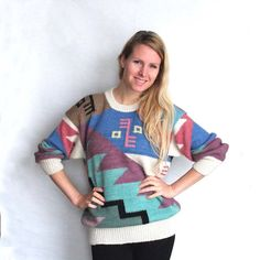 Geometrical Knit Sweater Big Wooly Jumper £33.00