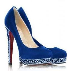 Something Blue Pumps for a Winter Bride - Christian Louboutin Royal Blue Satin Eugenie Pump
