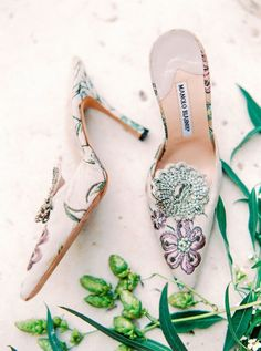 Who wouldn't want to slip their feet into these Manolo Blahnik's?! Photography : 2 Brides Photography Read More on SMP: http://www.stylemepretty.com/2017/01/19/the-french-countryside-is-always-a-good-idea/