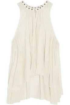 Étoile Isabel Marant Ted embellished plissé cotton-gauze top | NET-A-PORTER