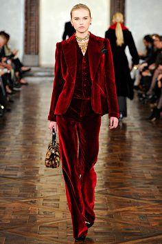 Ralph Lauren Fall 2012  Red Velvet Suit - OK I've died and gone to heaven . . .