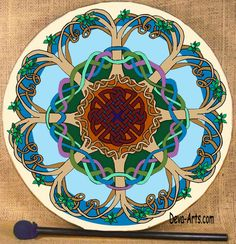 Tree of life bodhran in blue.  I have this one on a tunable drum for my use.  Some of the leaves are 18K gold.