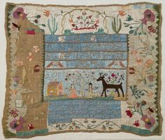 Sampler by Sally Breed, ca. 1798. On silk with linen thread. Photograph by Jeffrey R Dykes. Lynn Museum