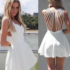 Floral Lace Hollow Out Women Cocktail Dress. White Sleeveless Strappy Back  Women Skater Dress Daisy Dress for Less Women s Dresses ... 7cc6da454