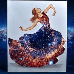 Galaxy gown by Edgar Artis ☮ * ° ♥ ˚ℒℴѵℯ cjf Fashion Illustration Sketches, Fashion Sketches, Illustration Art, Illustrations, Unique Drawings, 3d Drawings, Arte Fashion, Fashion Design Drawings, Art Plastique