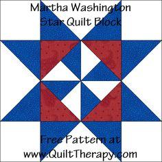 Martha Washington Star Quilt Block Free Pattern at QuiltTherapy.com!