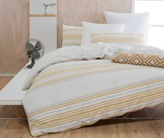 The Sass Mustard Jacquard Cotton Quilt Cover Set Queen by Designers Choice instantly matches your preferred style for a modern and contemporary bedroom design. Linen Bedding, Bedding Sets, Striped Quilt, Linens And More, Quilt Cover Sets, Contemporary Bedroom, Comforters, Colours, Bar