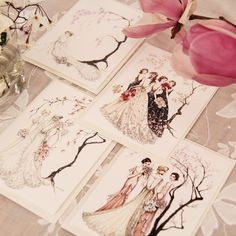 The Antique Floral Bridal Illustrated Series Greeting Cards