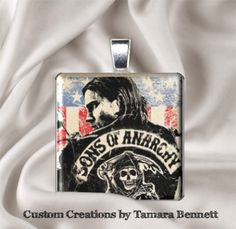 """Sons of Anarchy SOA 1"""" Glass Tile Pendant with matching Ribbon Necklace or Key Ring $9.95"""