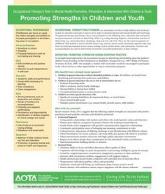 Promoting Strengths in Children and Youth … - Health Home What Is Occupational Therapy, Mental Health Promotion, Kids Health, Children Health, Health Tips, Mental Health Resources, Pediatric Ot, Human Services, Coping Skills