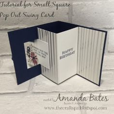 Tutorial for Small Square Pop Out Swing card (aka Lever card) featuring Springtime Foils, Perennial Birthday & Sweet Soiree Embellishments. Designed and created by Amanda Bates at The Craft Spa in the UK. Stampin Up UK Demonstrator & Card Designer with Online Shop.