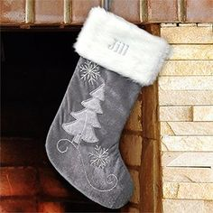 Embroidered Grey Velvet with Silver Beading Stocking