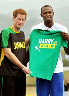 Usain Bolt during visit to Jamaica 2012 | Prince Harry. #usainbolt #jamaica #princeharry