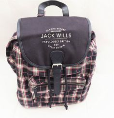 Jack Wills 2 Padded Straps School Travel Laptop Work Gym Bag Backpack Rucksack L